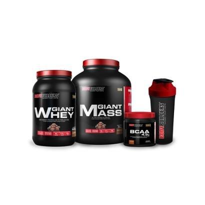 Kit Giant Mass 3 Kg + Giant Whey 908 G + BCAA 4,5 Mg 250 G + Coqueteleira – Bodybuilders