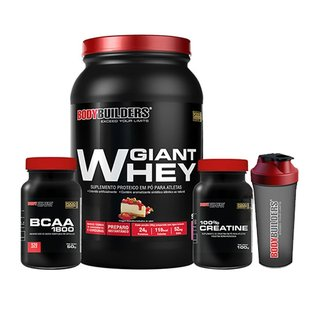 Kit Giant Whey 900g + BCAA 1800 120 caps + Creatine 100g + Coqueteleira Bodybuilders