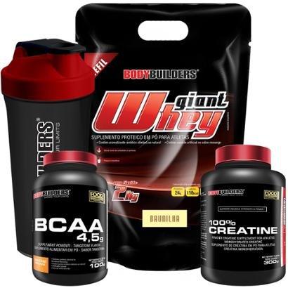 Kit Giant Whey Refil 2kg + BCAA 800 120 Tabletes + Creatine 300g + Coqueteleira Bodybuilders
