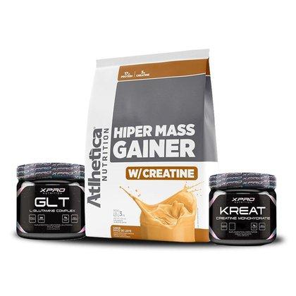 Kit Hiper Mass Gainer 3kg - Atlhetica + Glutamina 150g + Creatina 150g - Xpro