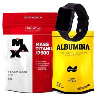 Kit Hipercalórico 3kg Massa Max Titanium + Albumina + Relógio + Coqueteleira