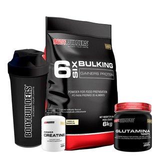 KIT - Hipercalórico Bulking Protein 6kg + Creatina 100g + Glutamina 300g + Coqueteleira- BB