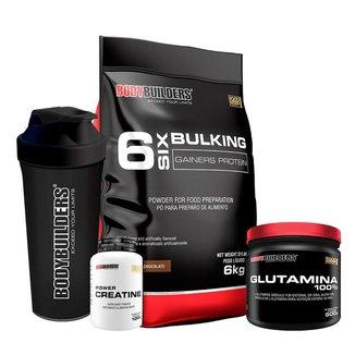 KIT - Hipercalórico Bulking Protein 6kg + Creatina 100g + Glutamina 500g + Coqueteleira- BB