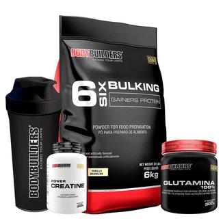 KIT - Hipercalórico Bulking Protein 6kg + Creatina 300g + Glutamina 300g + Coqueteleira- BB