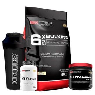KIT - Hipercalórico Bulking Protein 6kg + Creatina 300g + Glutamina 500g + Coqueteleira- BB
