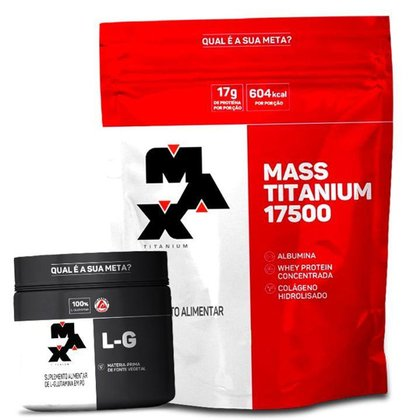 Kit Hipercalórico Massa Max Titanium + Glutamina