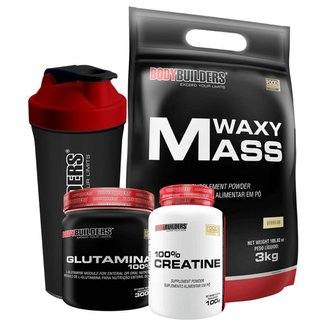 Kit Hipercalorico Waxy mass 3kg + Glutamina 300g + Creatina 100g + Coqueteleira - Bodybuilders