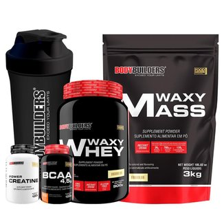 KIT Hipercalórico Waxy Mass 3kg + Whey Protein Waxy Whey 900g + Creatina 100g + BCAA 100g +Coq-BB
