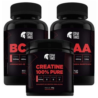 Kit Hipertrofia  2x Bcaa + Creatina  Espartanos