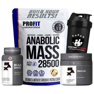 Kit Hipertrofia Anabolic Mass Baunilha 3kg + Bcaa & Creatina Max Titanium - Profit