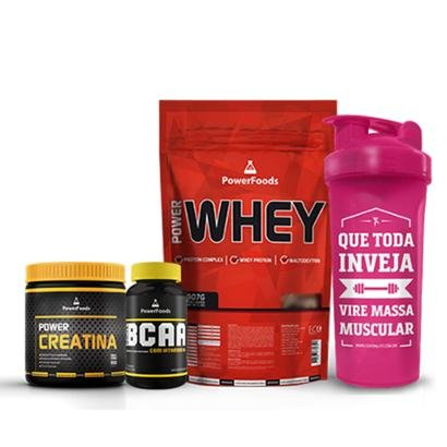 Kit Hipertrofia Power Whey 900g + BCAA 120cáps + Creatina 300g+ Coqueteleira 700 ml - PowerFoods