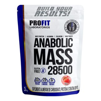 Kit Hipertrofria Anabolic Mass Morango 3kg + Bcaa & Creatina Max Titanium - Profit