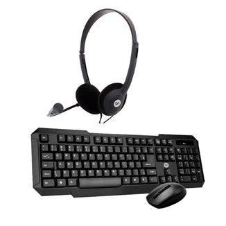 Kit Home Office Mouse e Teclado Sem Fio 2.4Ghz com Headset