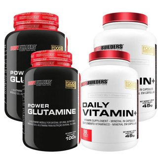 KIT - IMUNIDADE  2x Power Glutamina 100g + 2x Daily Vitamin 90 cáps - Bodybuilders