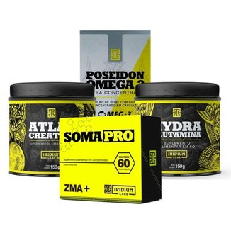 Kit Imunidade - Soma Pro 60 comps + Hydra Glutamina 150g + Poseidon Ômega 3 + Atlas Creatina 150g