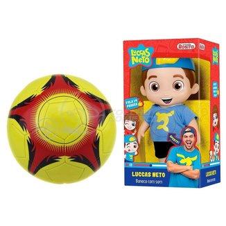 Kit Infantil Criança 1 Boneco Luccas Neto Articulado + 1 Mini Bola Futebol