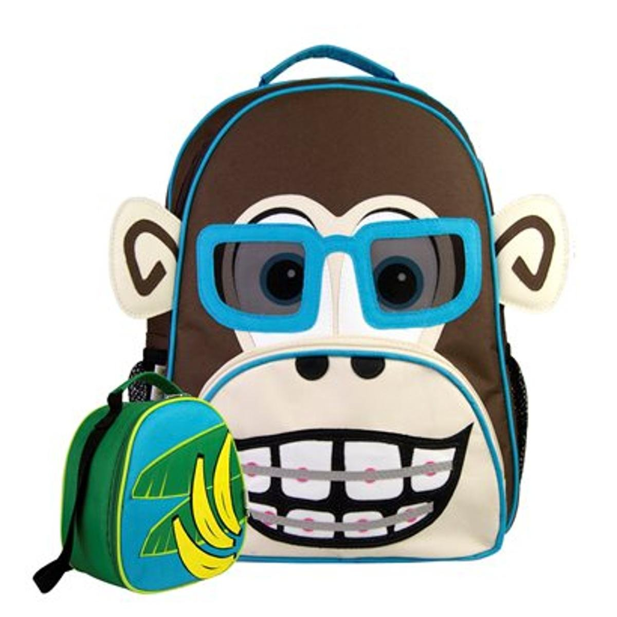 3b457af66 Kit Infantil Mochila Escolar Mumagi + Lancheira Macaco Kinho Masculino .