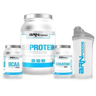 Kit Iso Protein Foods 900 G +  Creatina Foods 100% 300  + BCAA Foods 2400 200 Cáps + Coqueteleira