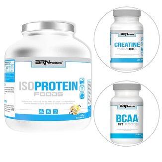 Kit IsoProtein Foods 2kg + BCAA Fit Foods 120tabs + Creatine Foods 100g BRNFOODS