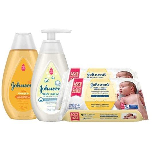 Kit Johnson's Baby: Toalinhas + Shampoo + Sabonete Líquido - Única