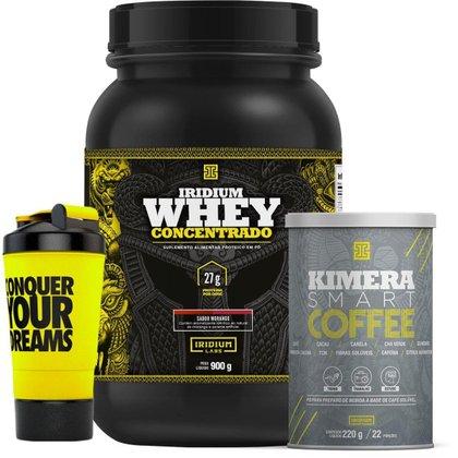Kit Kimera Smart Coffee 220g + Whey Protein Concentrado 900g + Coqueteleira Shaker 500ml