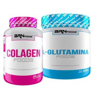 Kit L-Glutamina 300g + Colageno 100caps - BRNFOODS
