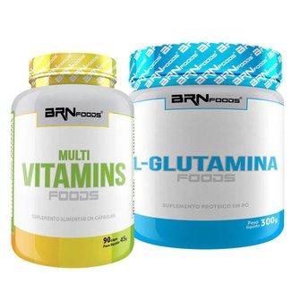 Kit L-Glutamina 300g + Multivitaminico 90 caps - BRNFOODS