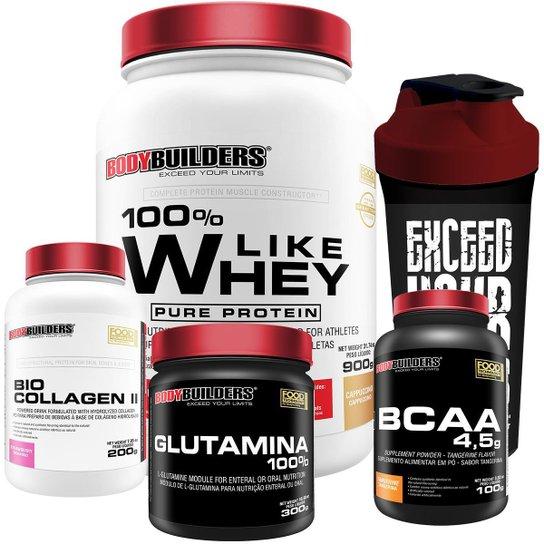 Kit Like Whey 900g + BCAA 1000g + Colageno 200g + Glutamina 300g + Coqueteleira - Bodybuilders -