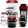 Kit Like Whey 900g + BCAA 1000g + Colageno 200g + Glutamina 300g + Coqueteleira - Bodybuilders