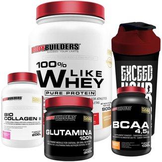 Kit Like Whey 900g + BCAA 100g + Colageno 200g + Glutamina 300g + Coqueteleira - Bodybuilders