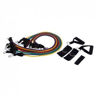 Kit Liveup Extensor Com 7 Elásticos Ls3634 Para Exercícios De Fortalecimento
