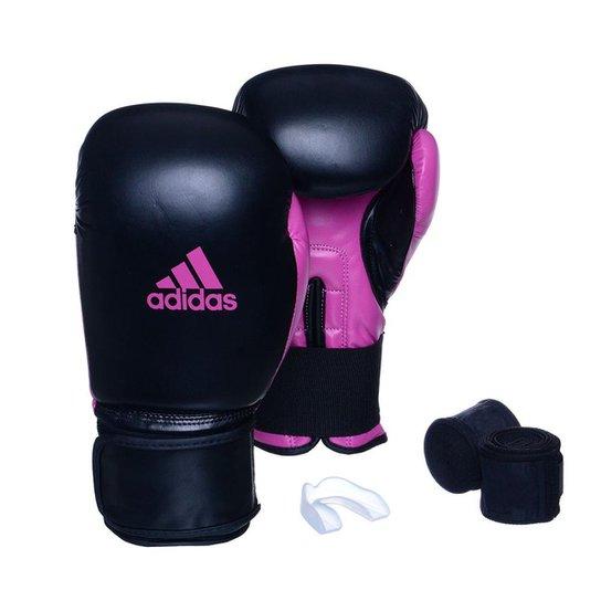 Kit Luva Adidas Power 100 Colors + Bandagem + Bucal Simples - Preto+Rosa