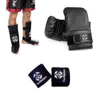 Kit Luva Bate Saco + Bandagem + Caneleira Combate Muay Thai MMA Boxe