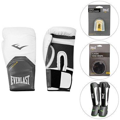 0fa68debb Kit Luva De Boxe - 12 Oz + Bandagem 2.74 M + Protetor De Canela + Protetor  Bucal Everlast