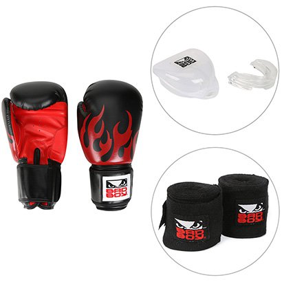 Kit Luva de Boxe / Muay Thai Bad Boy 12 OZ + Bandagem Elástica Bad Boy + Protetor Bucal Bad Boy - Unissex