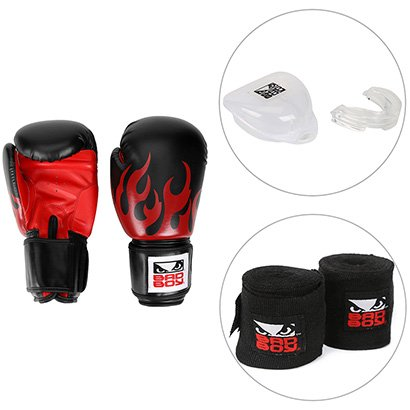 Kit Luva de Boxe / Muay Thai Bad Boy 16 OZ + Bandagem Elástica Bad Boy + Protetor Bucal Bad Boy - Unissex