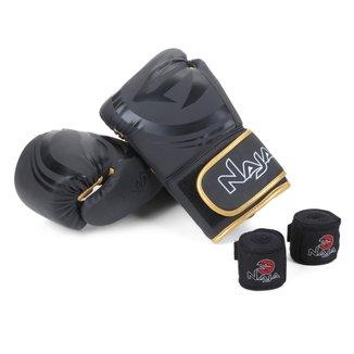 Kit Luva de Boxe/ Muay Thai Naja Black 12 Oz + Bandagem + Protetor Bucal + Bag