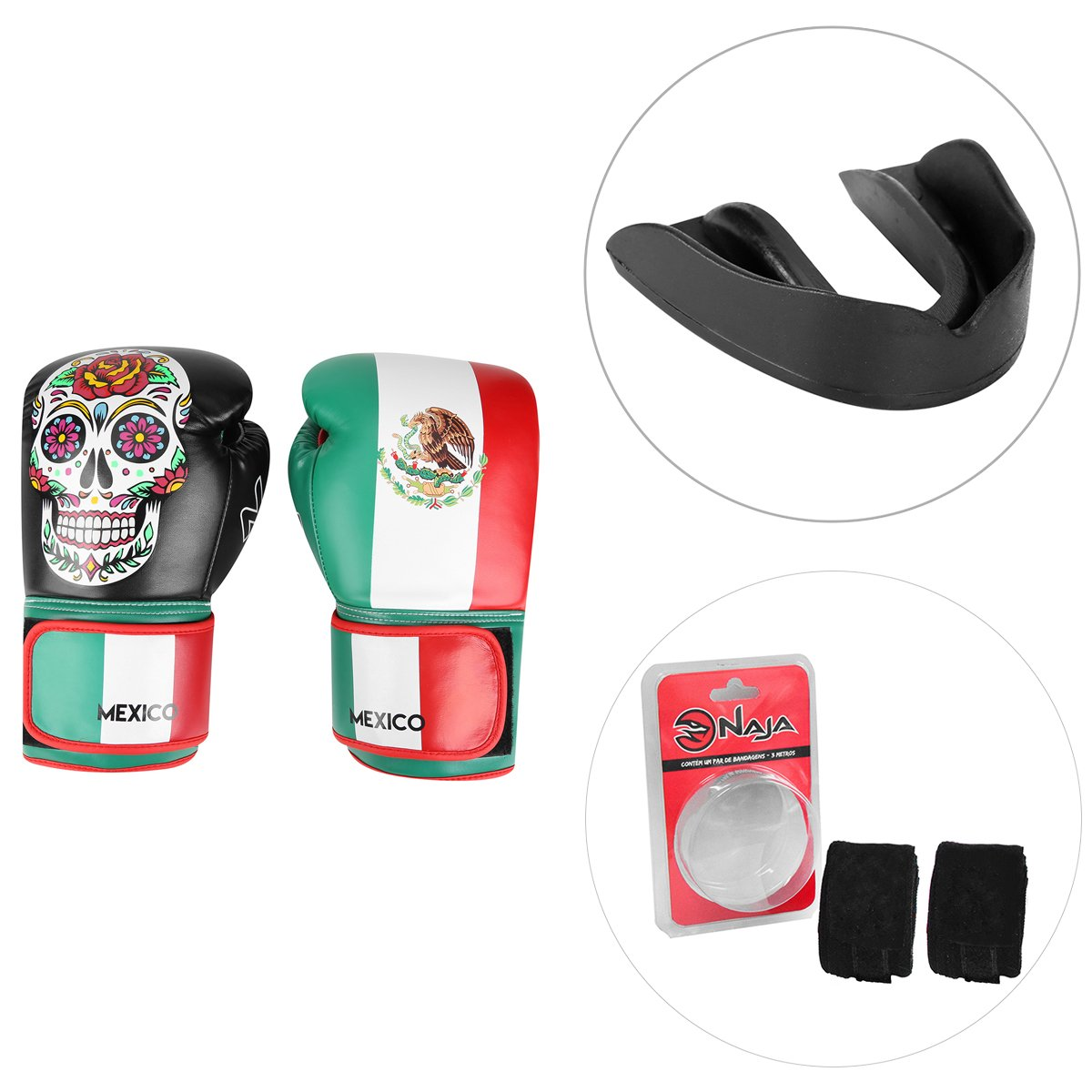 4762e69d8 Kit Luva de Boxe   Muay Thai Naja Caveira México 12 Oz + Protetor Bucal +  Bandagem Elástica - Compre Agora