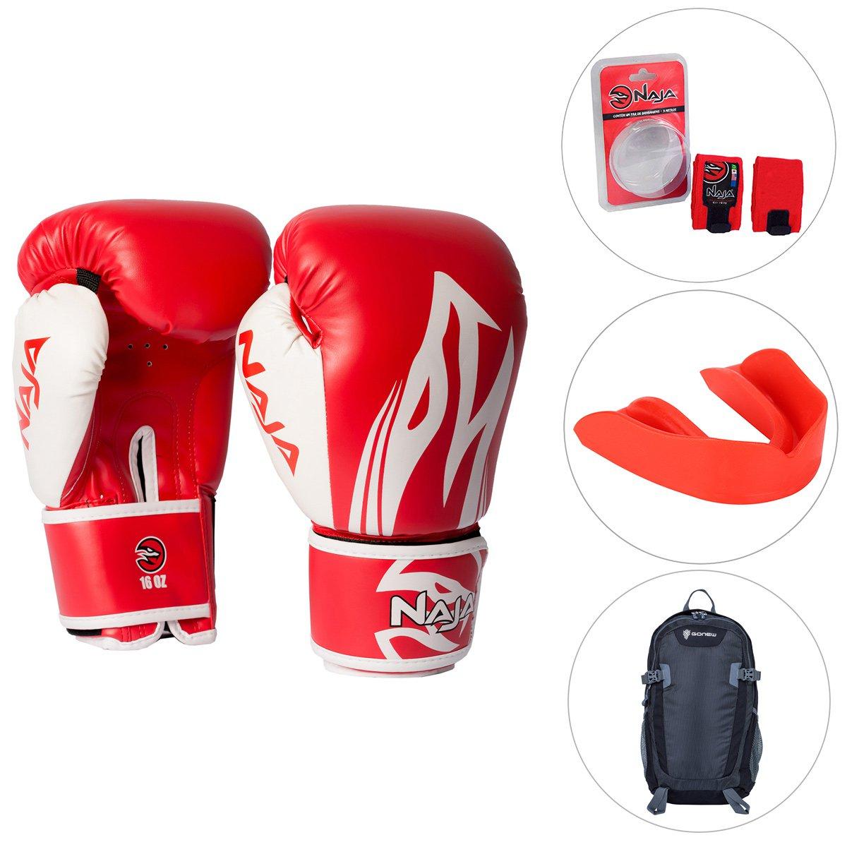 8182997c6 Kit Luva de Boxe   Muay Thai Naja Extreme 10OZ + Bandagem 3M + Protetor +  Mochila GONEW Namibe - Compre Agora