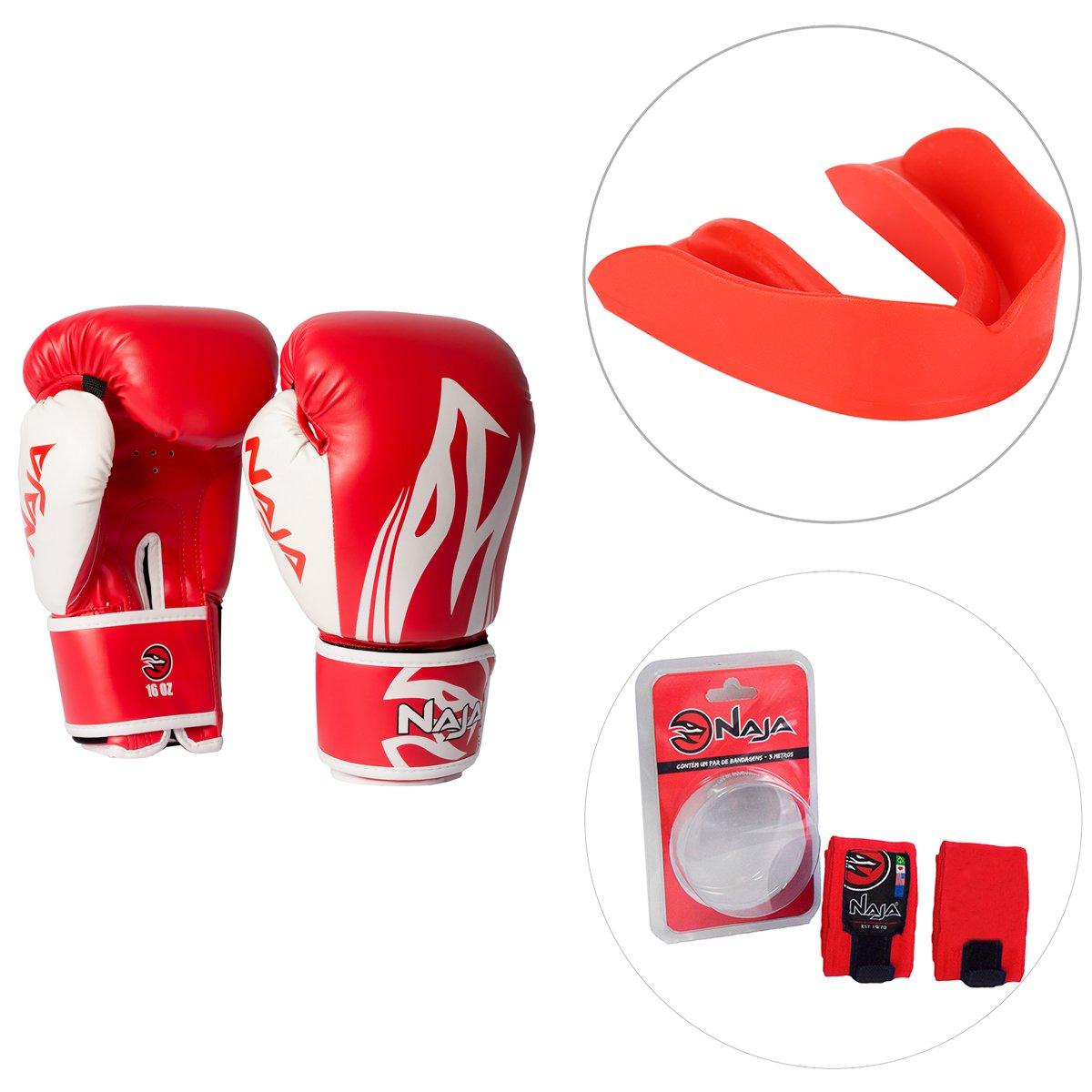 e70dc0a60 Kit Luva de Boxe   Muay Thai Naja Extreme 10OZ + Bandagem Elástica 3M +  Protetor ...