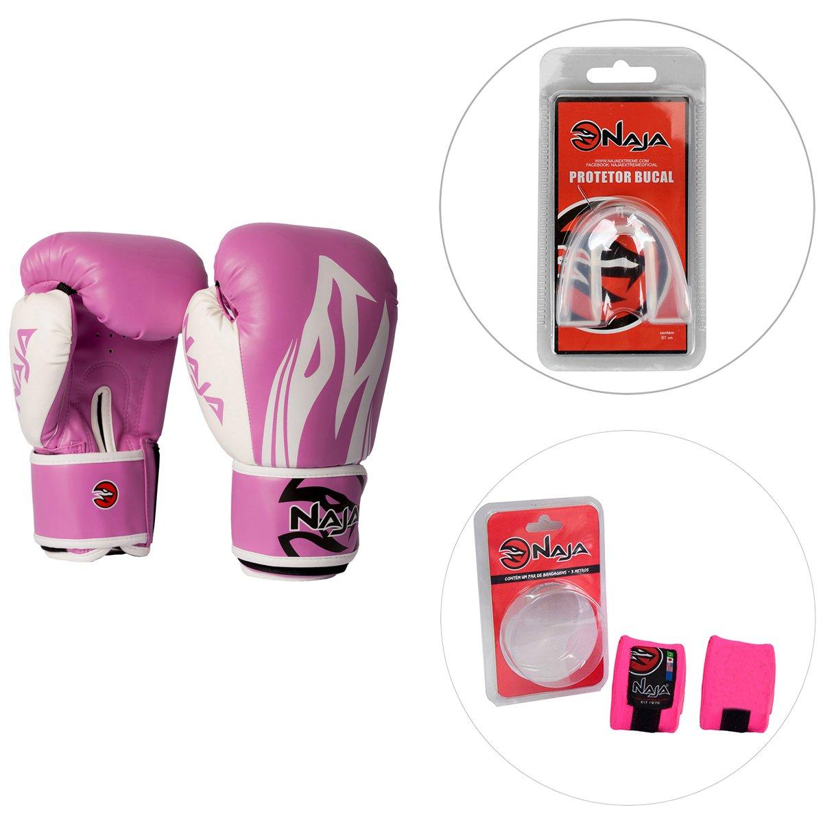 96775ad9b Kit Luva de Boxe   Muay Thai Naja Extreme 10OZ + Bandagem Elástica 3M +  Protetor Bucal - Compre Agora