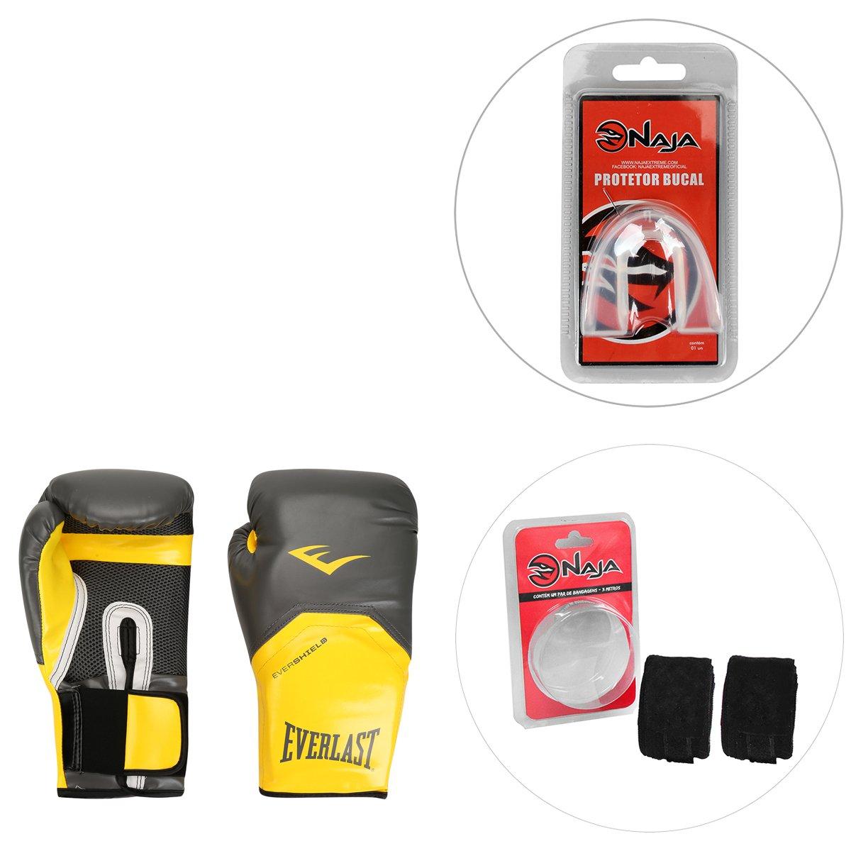 173ba786e0 Kit Luva de Boxe Muay Thai Everlast para treino Pro Style Elite 16oz +  Bandagem ...