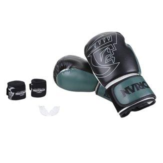 Kit Luva de Boxe/Muay Thai First Pretorian 10 Oz + Bandagem Elástica + Protetor Bucal