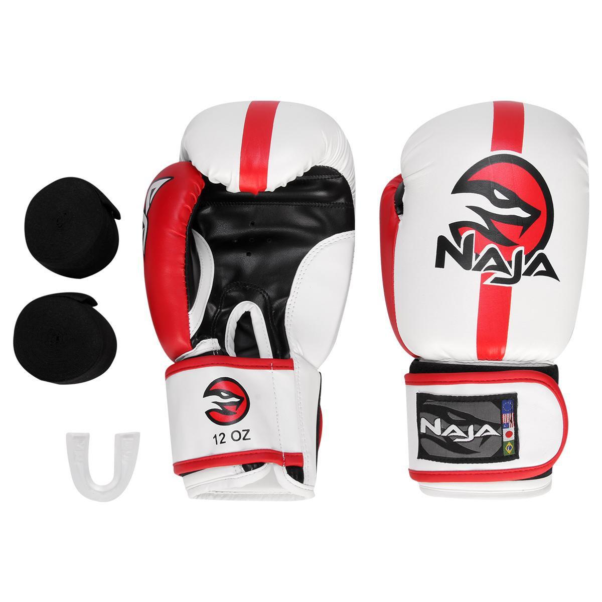 8d72418ab Kit Luva De Boxe Muay Thai Naja Classic 12 Oz + Bandagem + Protetor Bucal