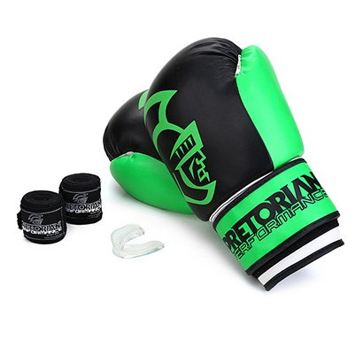 Kit Luva de Boxe/Muay Thai Pretorian Performance 14 OZ + Bandagem + Protetor Bucal - Unissex