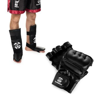 Kit Luva MMA Treino Profissional + Caneleira Com Pé Muay Thai Boxe