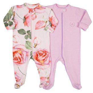 Kit macacão bebê Coquelicot 2 peças com zíper e com pezinho Floral Rosa