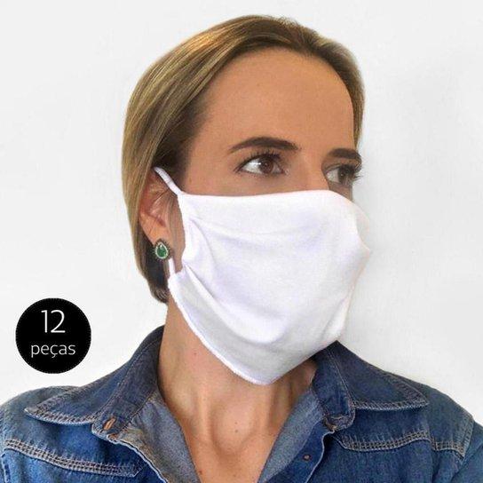 Kit Máscara de Proteção Adulto em Algodão Lavável 12 Peças Tip Top - Branco