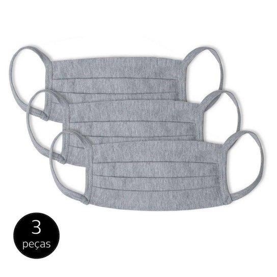 Kit Máscara de Proteção Adulto em Algodão Lavável 3 Peças Mash - Cinza