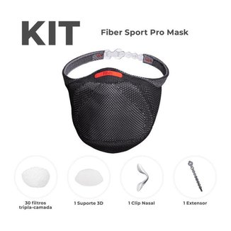 Kit Mascara Fiber Pro Preto - 30 Filtros Pro + 1 Suporte De Filtro Pro + 1clipe Nasal